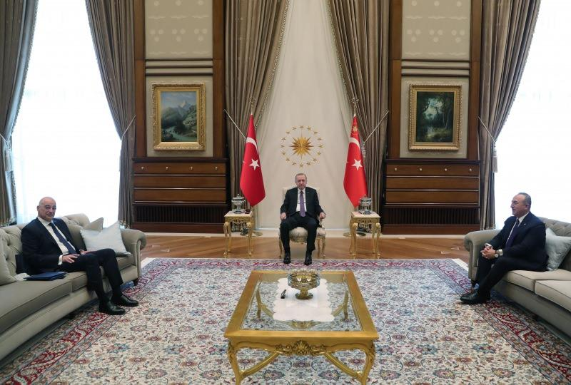 Cumhurbaşkanı Erdoğan, Dendias ile Beştepe'de görüştü.