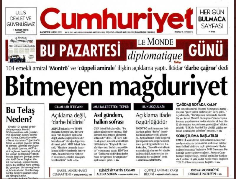 Cumhuriyet'in 'Bitmeyen mağduriyet' başlıklı manşeti.