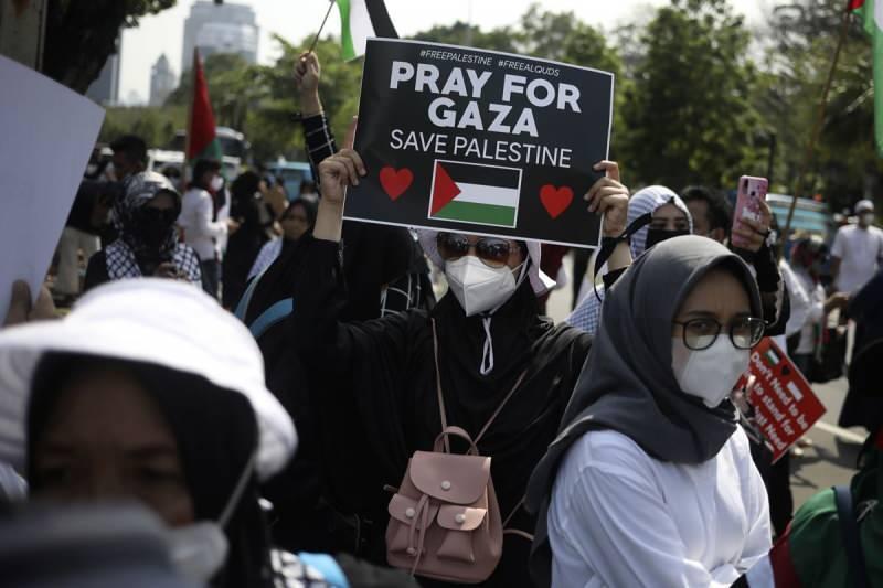 Endonezya'da göstericiler ABD'nin İsrail'e desteğini kınadı