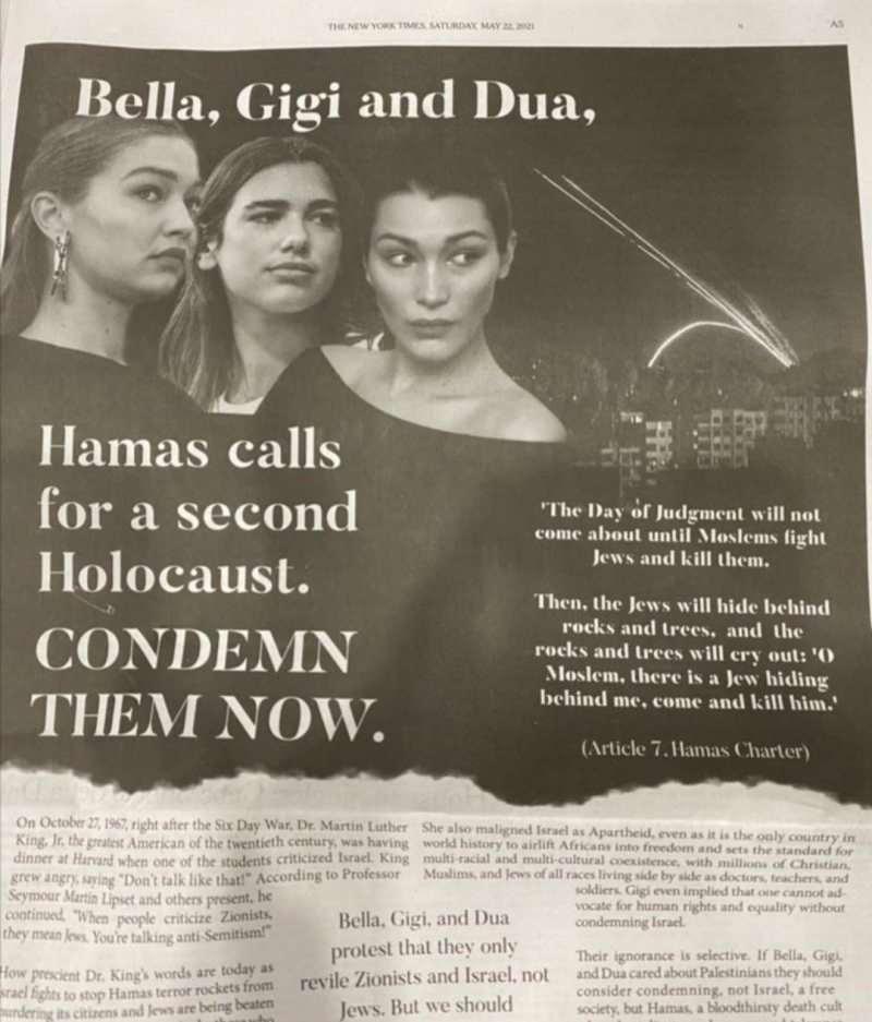 Filistin'e destek veren 3 ünlü ismi hedef gösteren New York Times'taki ilan tepki gördü