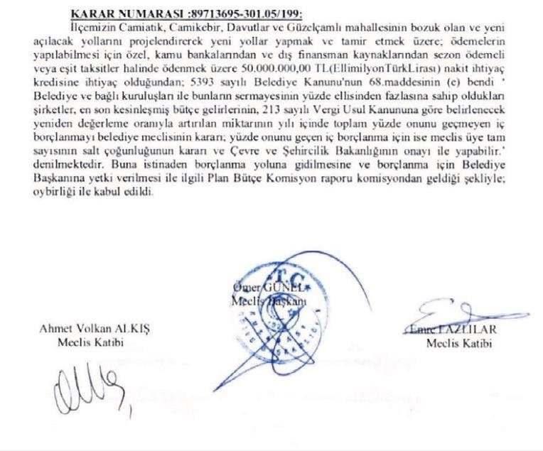 Mecliste Nisan ayında imzalanan tutanak.