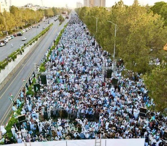 Pakistan'da binlerce kişi Filistin'e destek mesajı vermek için toplandı