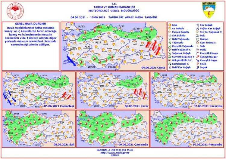 Meteoroloji'nin yayınladığı haftalık hava durumu haritası ise böyle yansıdı.