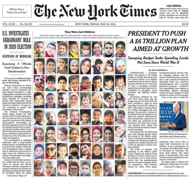 New York Times'ın Gazzeli çocuklarla ilgili manşeti.