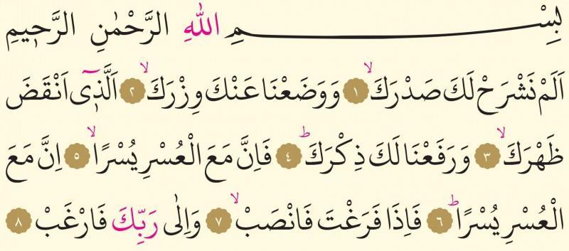 İnşirah Suresi Arapçası