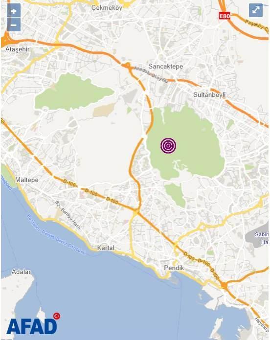 İstanbul Kartal'da 3.9 şiddetinde bir deprem meydana geldi.