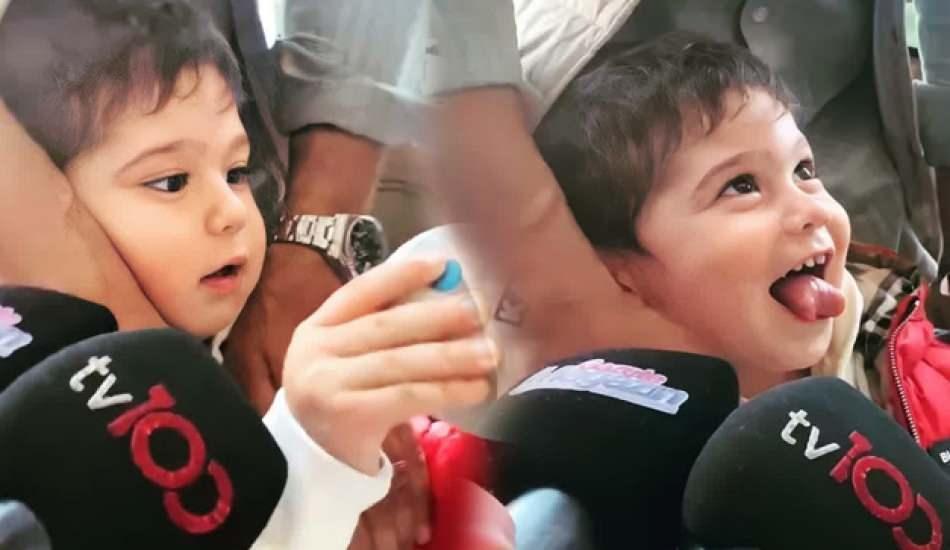 Fahriye Evcen ve Burak Özçivit'in oğlu Karan kameraları çok sevdi!