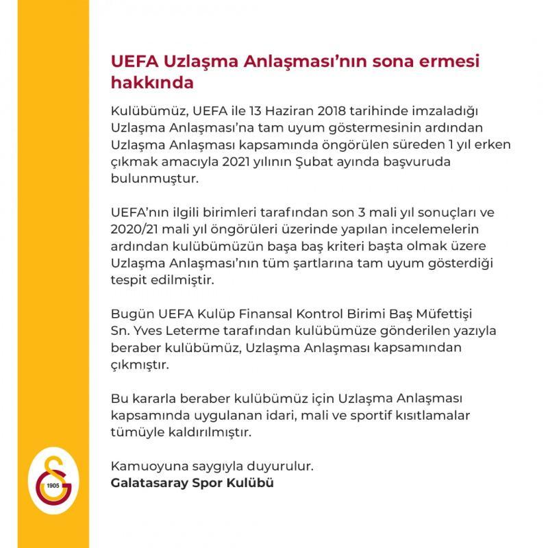 Galatasaray''ın UEFA FFP açıklaması