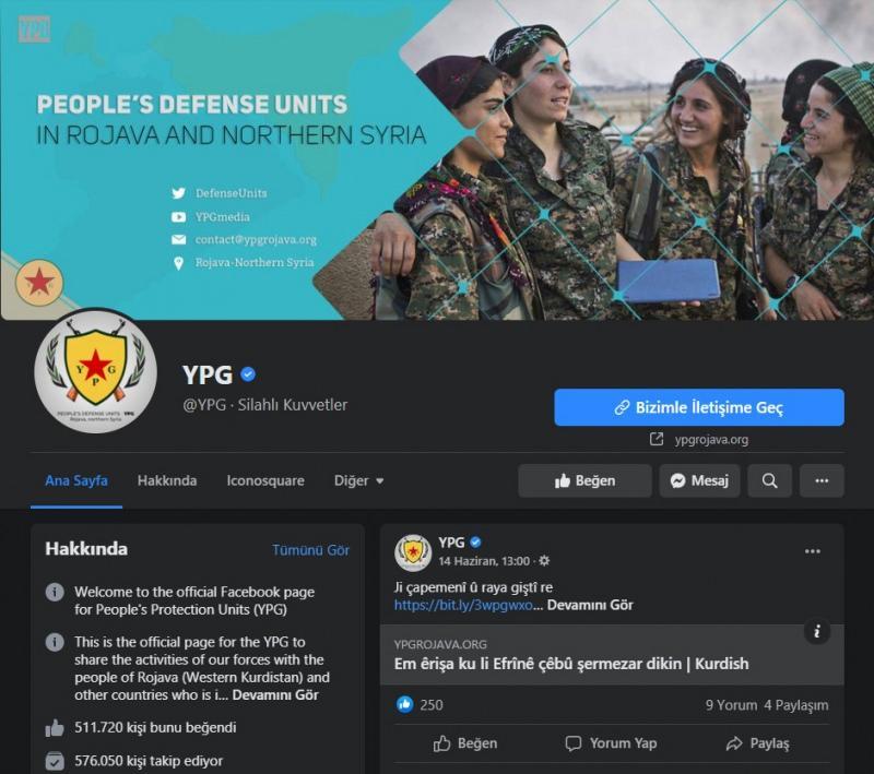 Facebook, terör örgütü YPG'nin terör propagandası yaptığı sayfaya