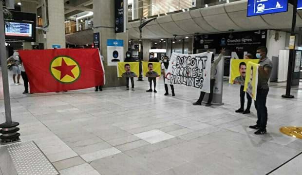 Fransa'da PKK provokasyonu: THY karşıtı slogan attılar