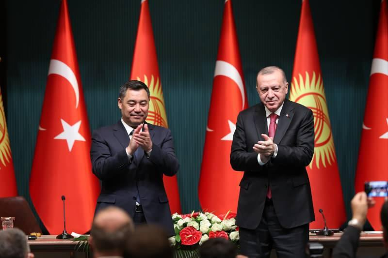 Beştepe'deki Erdoğan-Caparov görüşmesinden bir kare