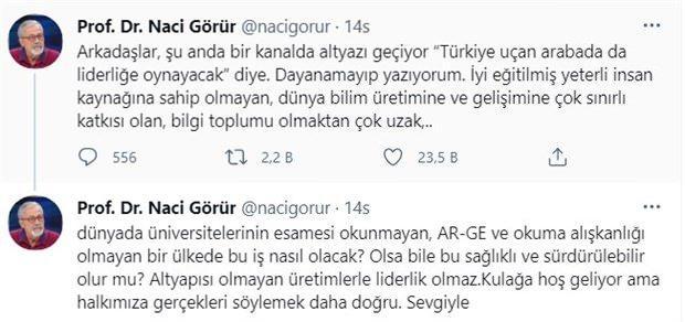 Prof. Dr. Naci Görür'ün tepki çeken tweti