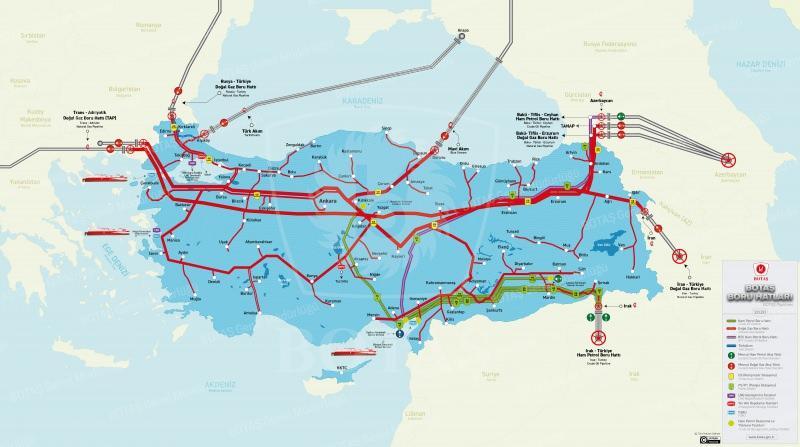 Doğal Gaz ve Petrol Boru Hatları Haritası