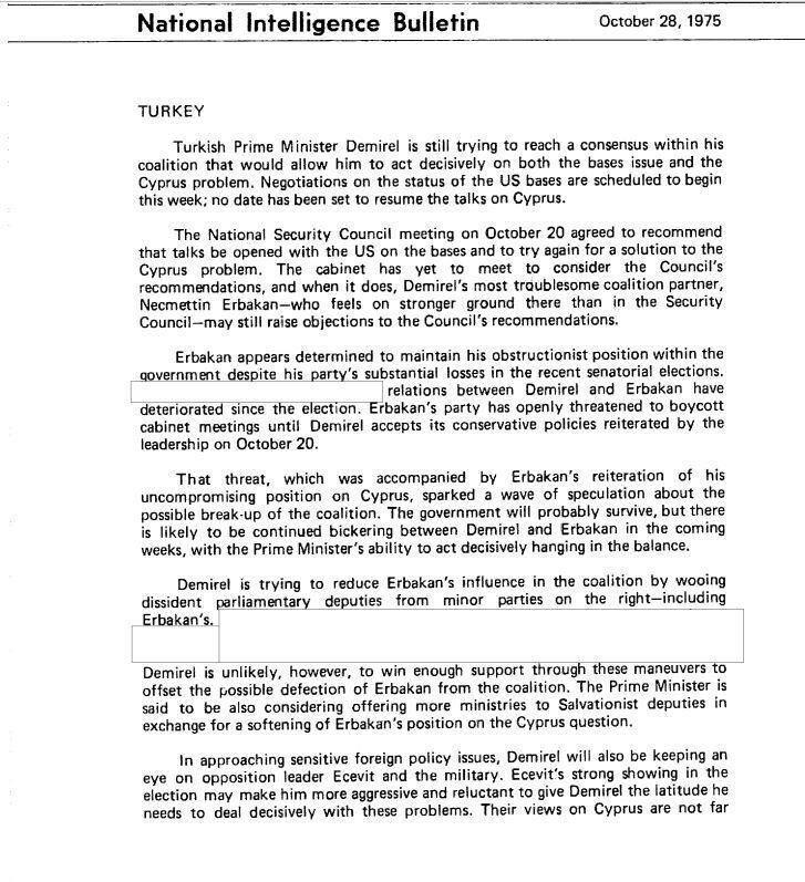 Raporda, Süleyman Demirel'in ABD üslerine ve Kıbrıs sorununda Erbakan'a göre daha ılımlı olduğu vurgulanıyor.