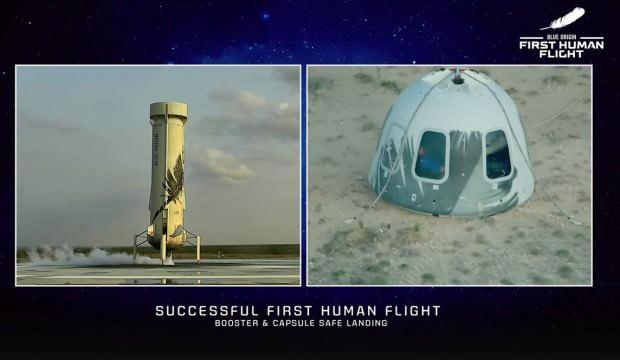 Jeff Bezos'un tarihi uzay yolculuğu tamamlandı! İşte o anlar... - TEKNOLOJİ  Haberleri