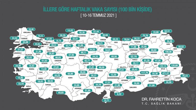 10 -16 Temmuz'da illere göre her 100 bin kişide görülen koronavirüs vaka sayıları
