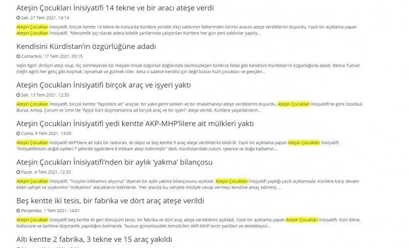 PKK'nın internet üzerinden faaliyet gösteren yayın organları yangınlara ilişkin bu paylaşımlara yer veriyor.