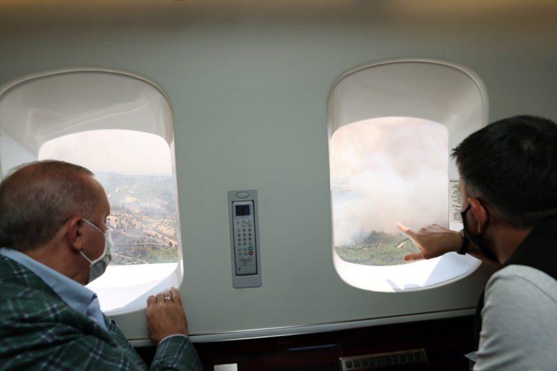 Başkan Erdoğan afet bölgesinde helikopterden incelemelerde bulundu