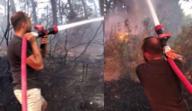Tatile diye gittiler yangın için kolları sıvadılar!