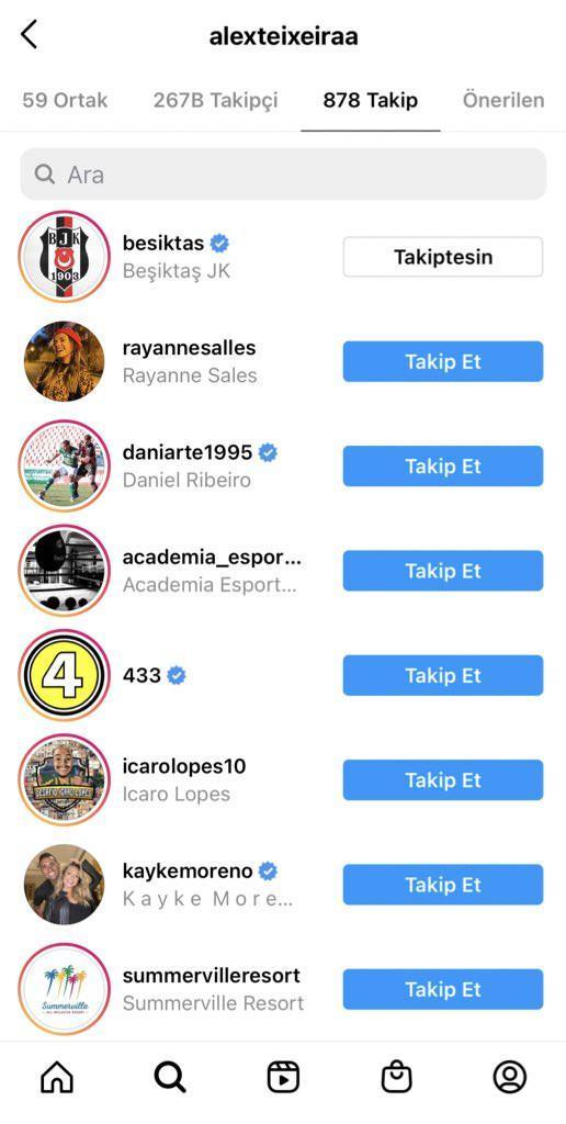 Alex, Beşiktaş Kulübü resmi Instagram hesabını takibe aldı.