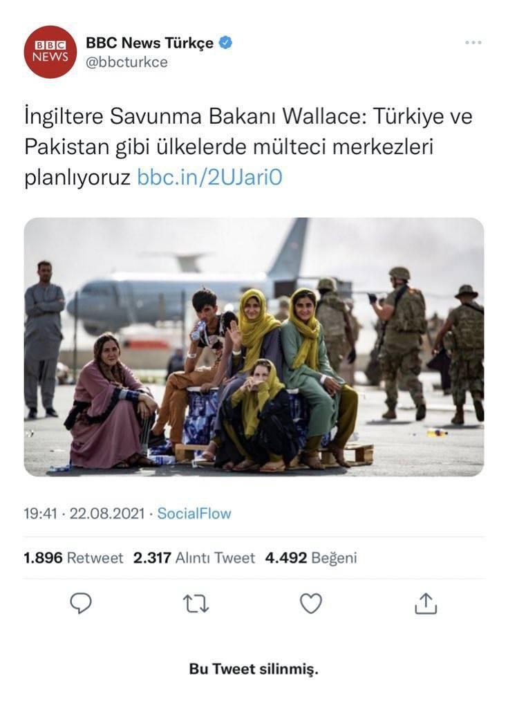BBC Türkçe haberi Twitter'dan sildi.