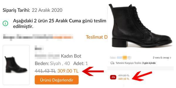 Aralık 2020'de 309 TL'den satılan ayakkabının bugünkü fiyatı 449 TL'ye çıkmış durumda