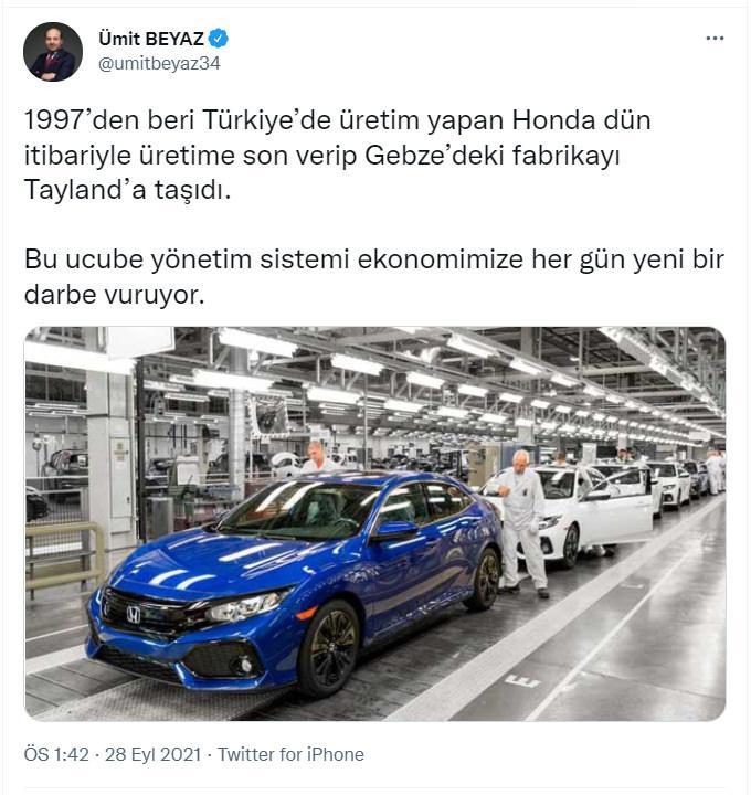 Muhalefet Honda fabrikası üzerinden algı operasyonu yapsa da Honda'nın çekilme kararının arkasında düşük satış rakamları ve emisyon oranlarında baskı bulunuyor.