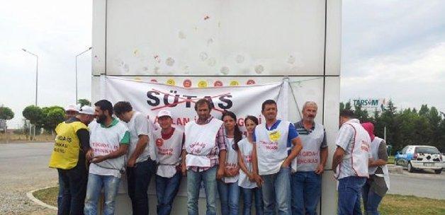 Sütaş Genel Müdürlüğü önünde protesto