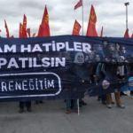 1 Mayıs yürüyüşünde iğrenç ötesi pankart