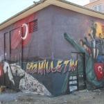 15 Temmuz'u grafiti sanatı ile elektrik trafosuna işlediler