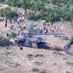 Kaya parçası üzerine düşen kişi, askeri helikopterle kurtarıldı
