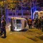 Ankara'da minibüsün çarptığı polis aracı devrildi
