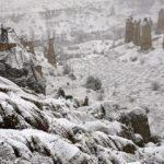 Kapadokya vadisi karlar altında kaldı.