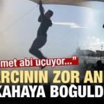 Pazarcının zor anları kahkahaya boğdu: Mehmet abi uçuyor...