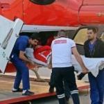 Jahovic ambulans helikopterle Antalya'ya getirildi