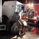 TEM'de iki kamyon çarpıştı, trafik oluştu: 1 ölü, 1 yaralı
