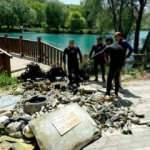 Göletten balık yerine 2 römork dolusu çöp çıktı