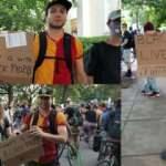 Galatasaray formalı protestocu ABD'de ilgi odağı oldu
