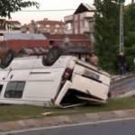 Küçükçekmece'de araç takla attı: 1'i ağır 2 yaralı