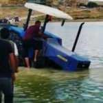 Su götürmek isterken traktörle baraja düştü