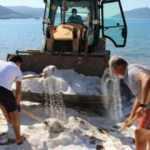 Bodrum'da plajlara serilen beyaz kumun kuvars kumu olduğu ortaya çıktı