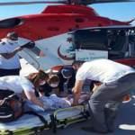 Üzerine televizyon düşen bebek, ambulans uçakla hastaneye sevk edildi