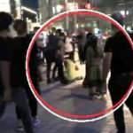 Kadınların Taksim'deki  laf atma kavgası kamerada
