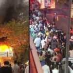 Dönerci dükkanı alev alev yandı, izleyenler koronayı unuttu