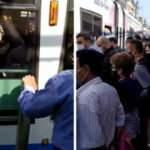 İstanbul'da tramvay durağında aşırı yoğunluk!