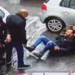 Şişli'de müteahhit dede ile torununa silahlı saldırı kamerada