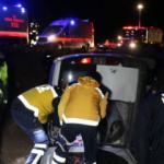 Araç tarlaya uçtu : 5 yaralı