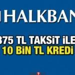 HalkBank 375 TL taksit ile 10 bin TL kredi! Kredi başvuru ekranı