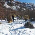 Jandarmadan dağ keçilerine kuru ot
