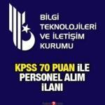 KPSS 70 puan ile BTK personel alımı ilanı! Başvurular başladı